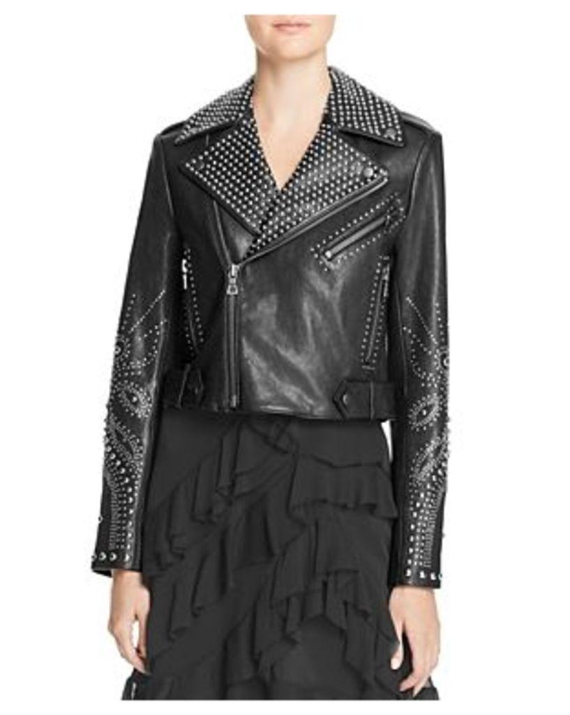 Alice + Olivia Cody Studded Leather Jacket
