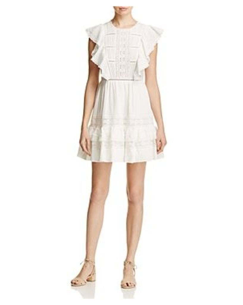 Rebecca Taylor Lace Trim Ruffled Gauze Dress