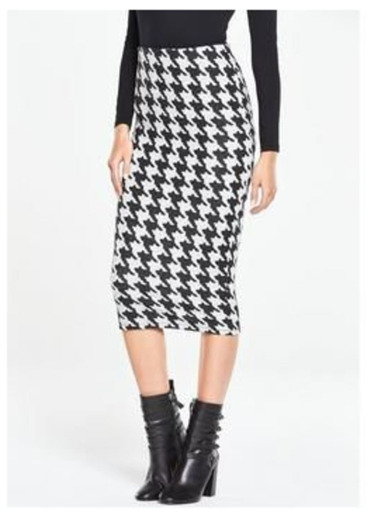 V By Very Dogtooth Jersey Midi Pencil Skirt