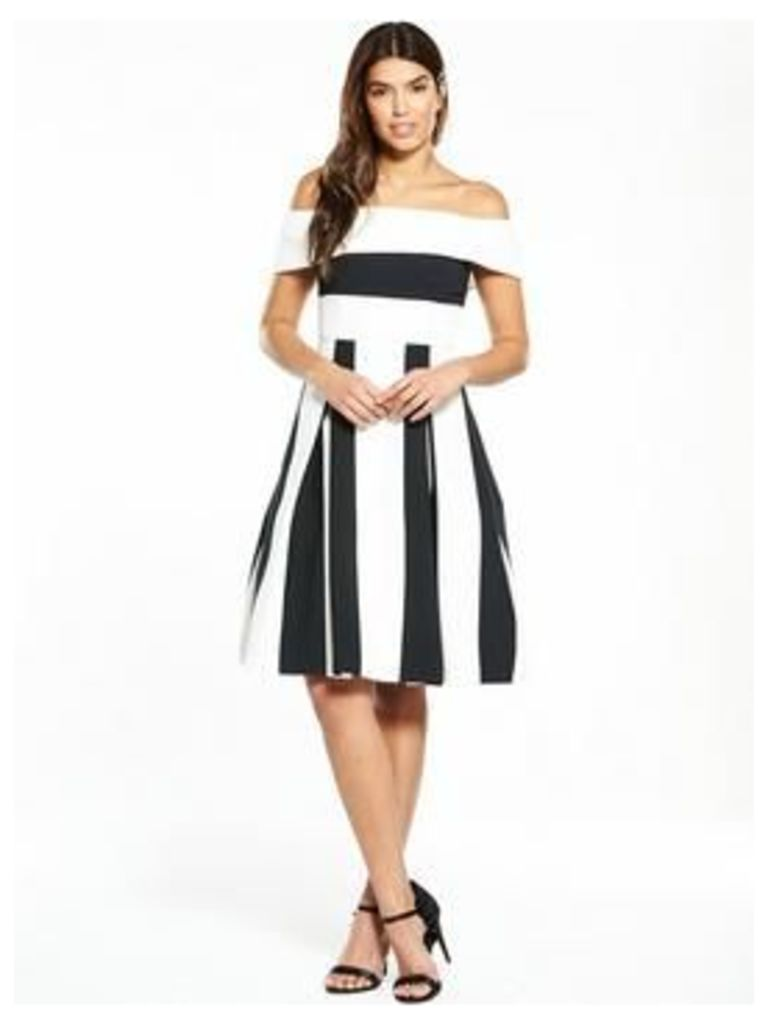 V By Very Stripe Bardot Midi Prom Dress