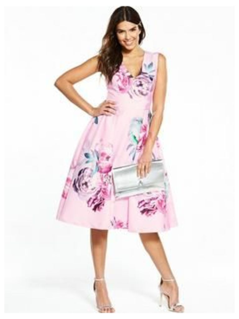V By Very Floral Printed Prom Dress - Pink