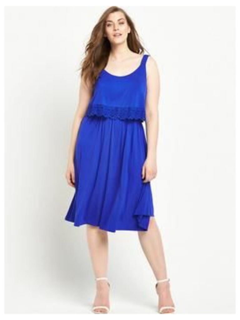 So Fabulous Trim Detail Double Layer Jersey Dress - Blue