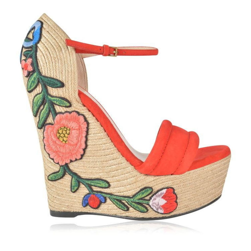 GUCCI Floral Wedge Heels