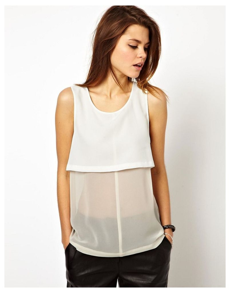 ASOS Vest with Sheer and Solid Panels - Black