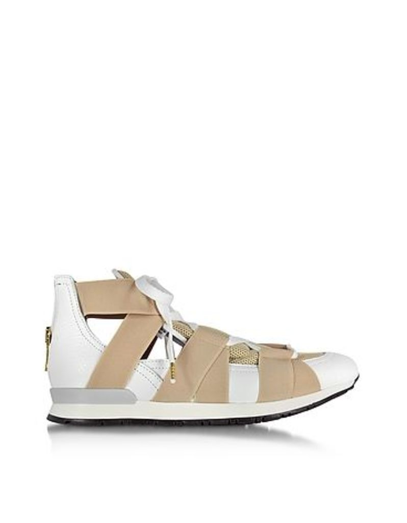 Vionnet - White Leather and Beige Mesh Sneakers