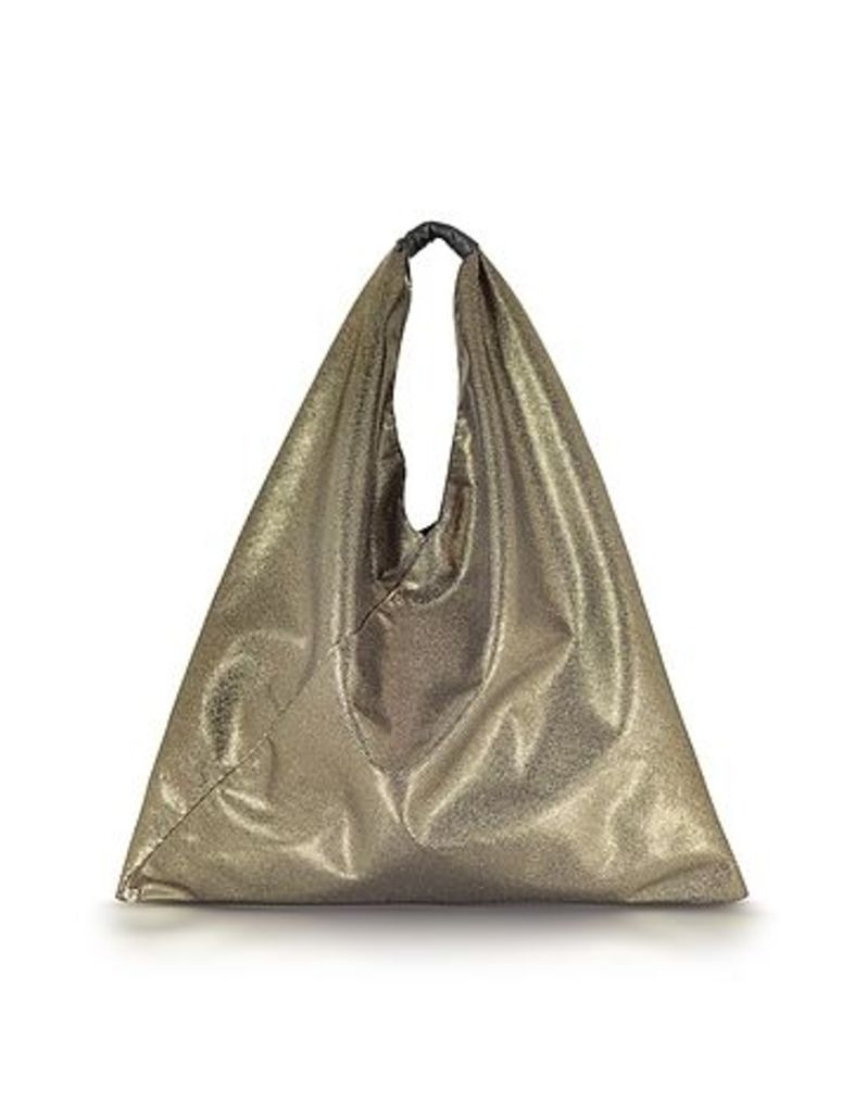 MM6 Maison Martin Margiela - Light Gold Glitter Foil and Black Eco Leather Japanese Tote