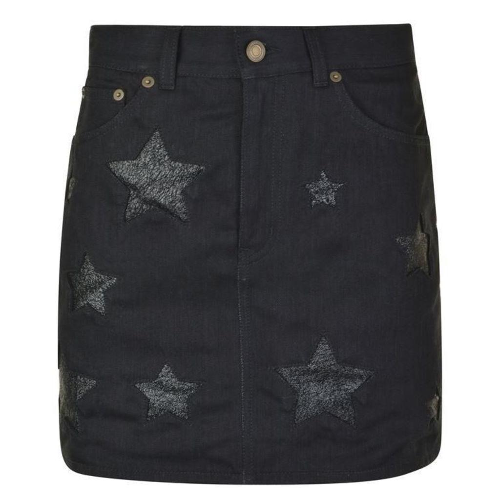 SAINT LAURENT Denim Star Mini Skirt
