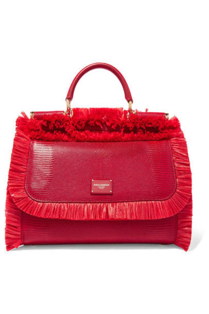 Dolce & Gabbana - Sicily Medium Raffia-trimmed Lizard-effect Leather Tote - Red