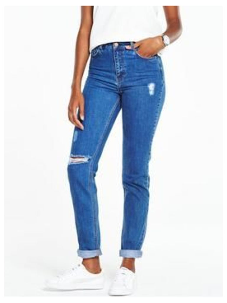 V By Very High Waisted Mom Jean - Mid Blue