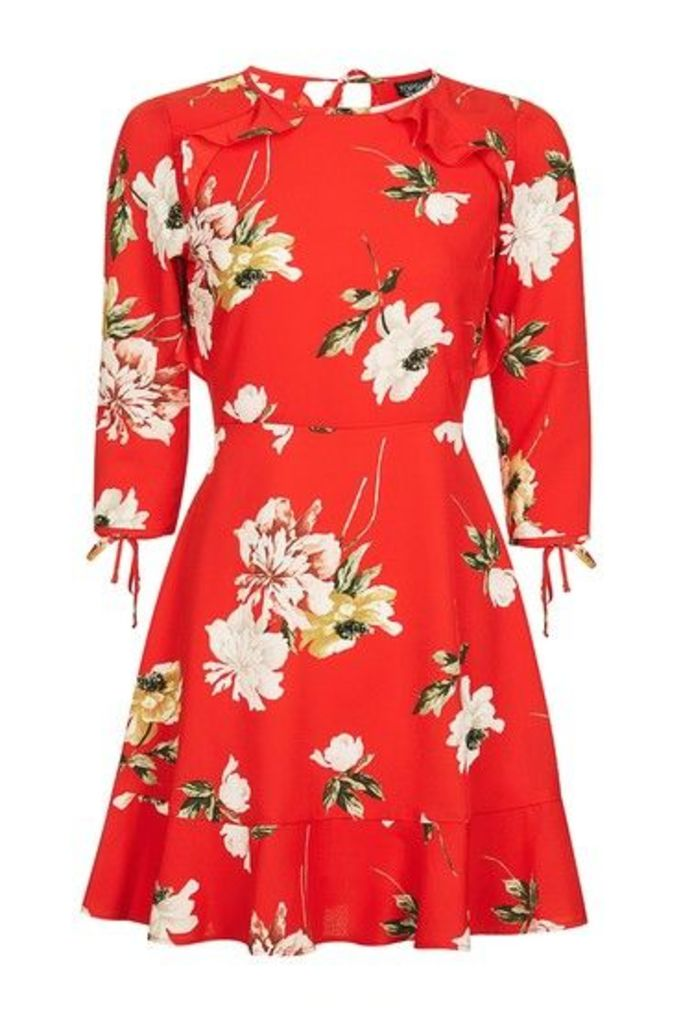Womens TALL Paint Floral Tea Dress - Red, Red