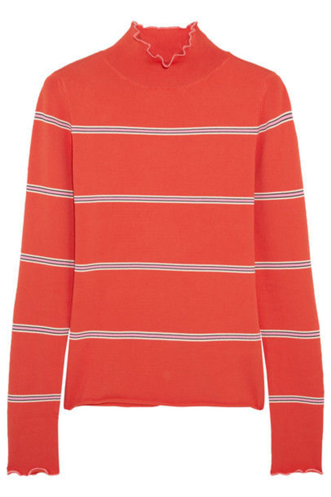 Topshop Unique - Margot Striped Stretch-knit Turtleneck Top - Red