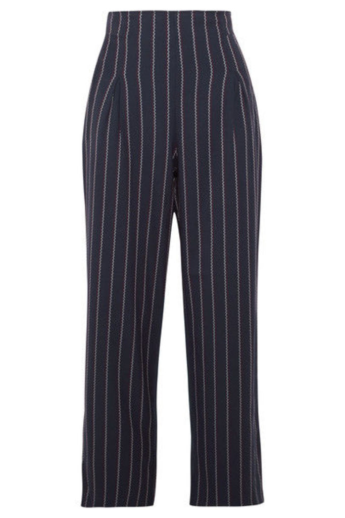 GANNI - Oakwood Cropped Pinstriped Stretch-crepe Wide-leg Pants - Midnight blue