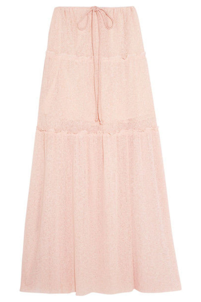 See by Chloé - Tiered Stretch-knit Maxi Skirt - Pastel pink