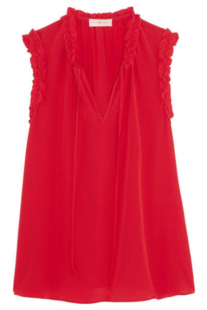 Tory Burch - Marie Ruffled Silk Crepe De Chine Top - Red