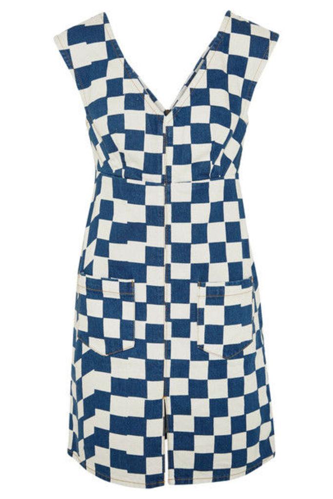 KÉJI - Checked Denim Mini Dress - Mid denim