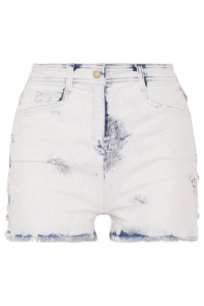 Balmain - Lace-up Distressed Denim Shorts - Light denim
