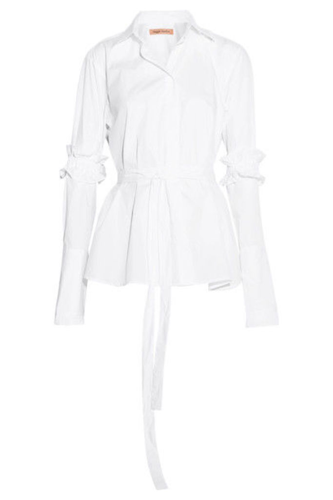 Maggie Marilyn - Hold It Together Belted Cotton-poplin Shirt - White