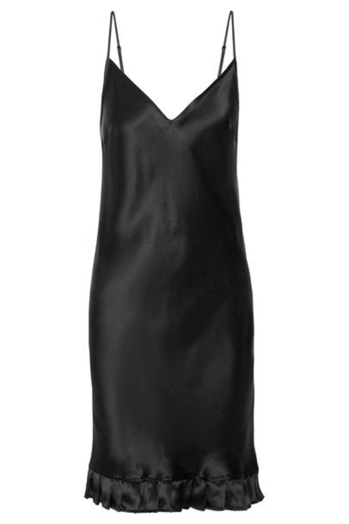 Maggie Marilyn - Ruffle-trimmed Silk-satin Dress - Black