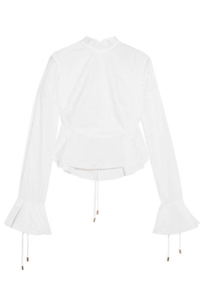Michael Lo Sordo - Priestess Lace-up Cotton-poplin Peplum Top - White