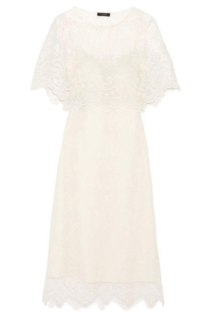 Burberry - Cape-effect Lace Midi Dress - White