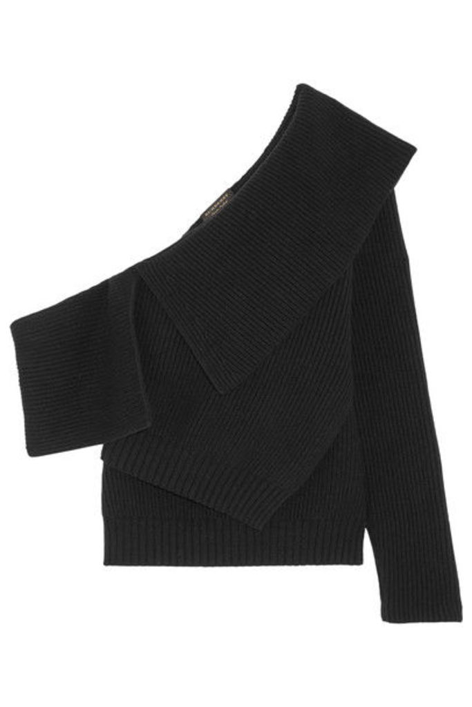 Burberry - One-shoulder Ribbed Wool And Cashmere-blend Sweater - Black