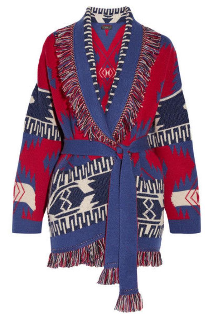 Alanui - Fringed Jacquard-knit Cashmere Cardigan - Red