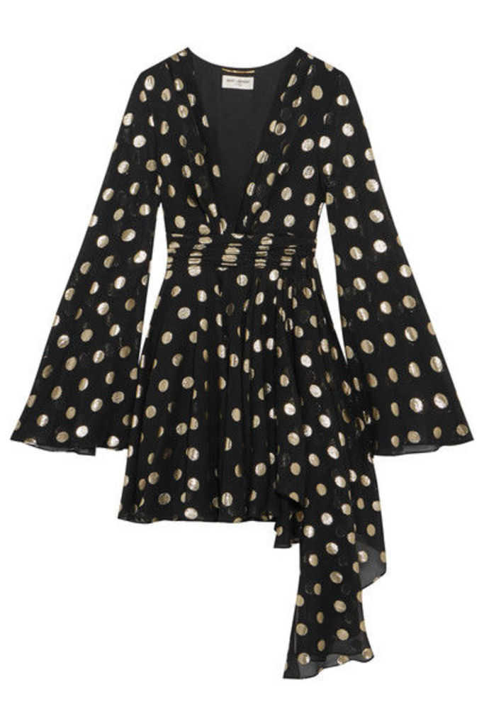 Saint Laurent - Asymmetric Polka-dot Fil Coupé Silk-blend Georgette Wrap Mini Dress - Black