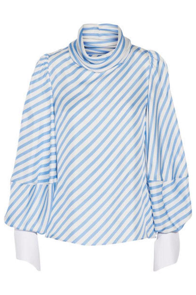 Monse - Draped Striped Silk-twill Top - Light blue