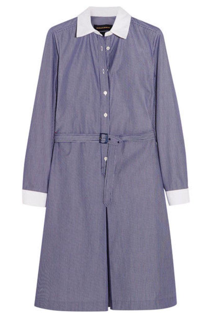 Vanessa Seward - Daisy Belted Pinstriped Cotton-poplin Dress - Navy
