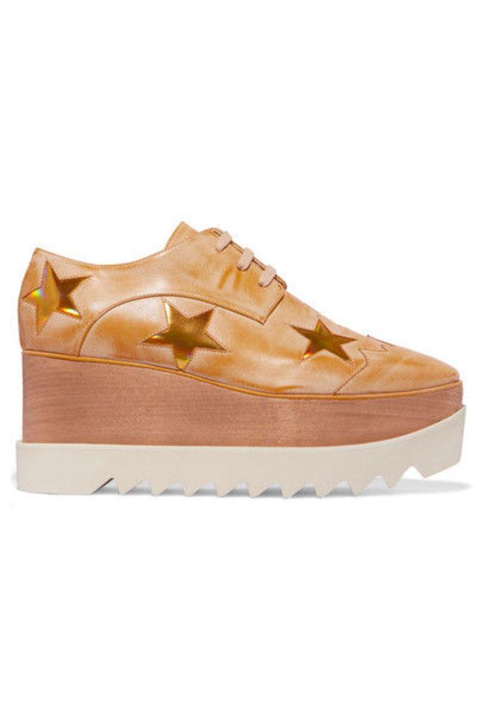 Stella McCartney - Faux Leather Platform Brogues - Gold