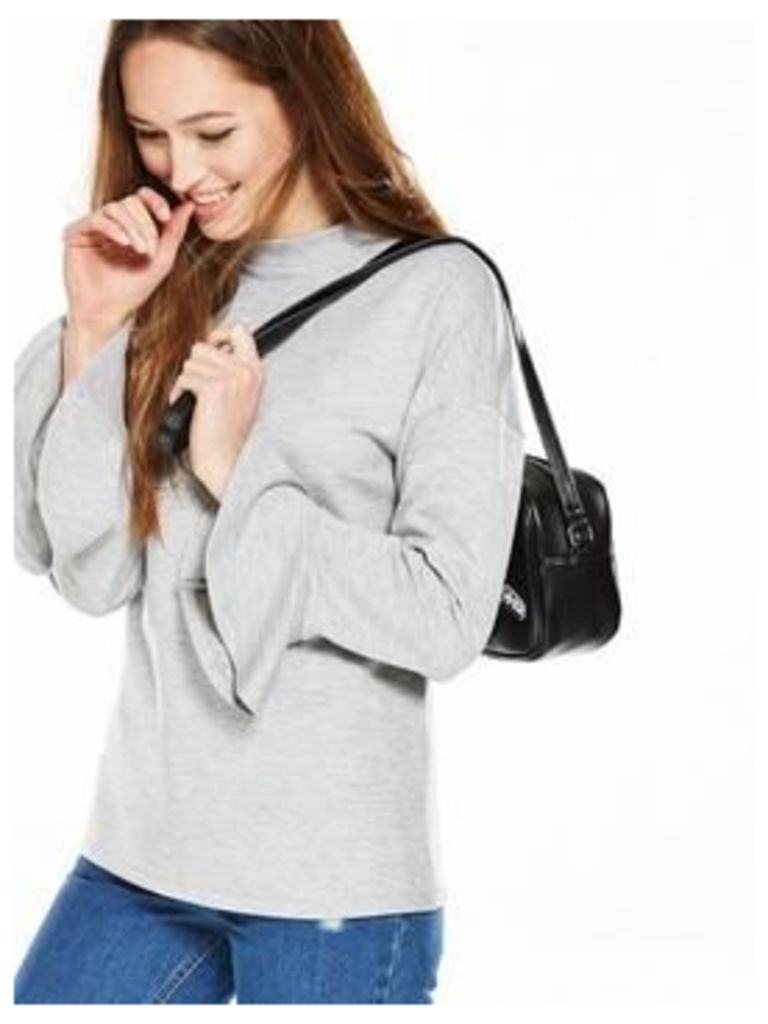 V By Very Scuba Frill Sleeve Sweat Top - Black