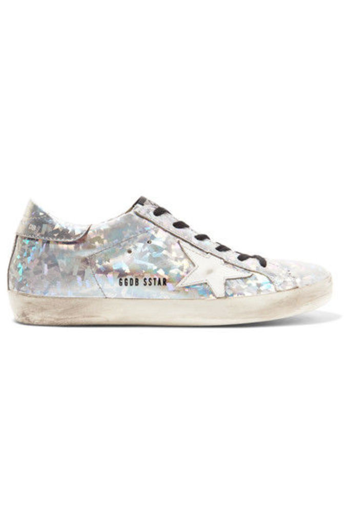 Golden Goose Deluxe Brand - Super Star Distressed Metallic Leather Sneakers - Silver