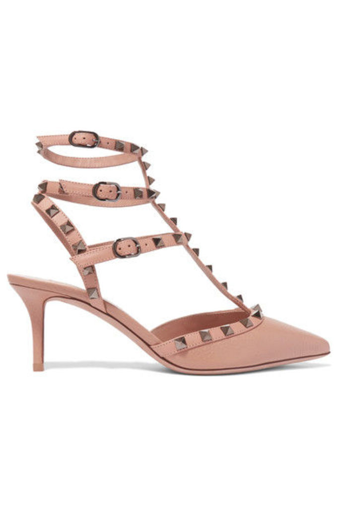 Valentino - Rockstud Textured-leather Pumps - Tan