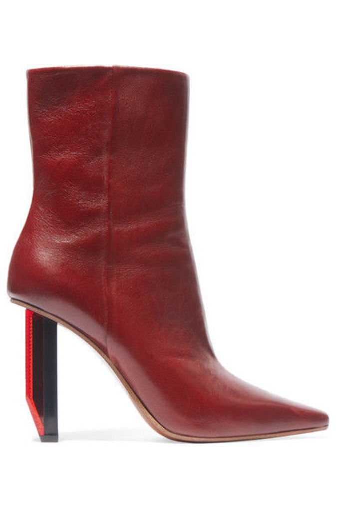 Vetements - Textured-leather Ankle Boots - Burgundy