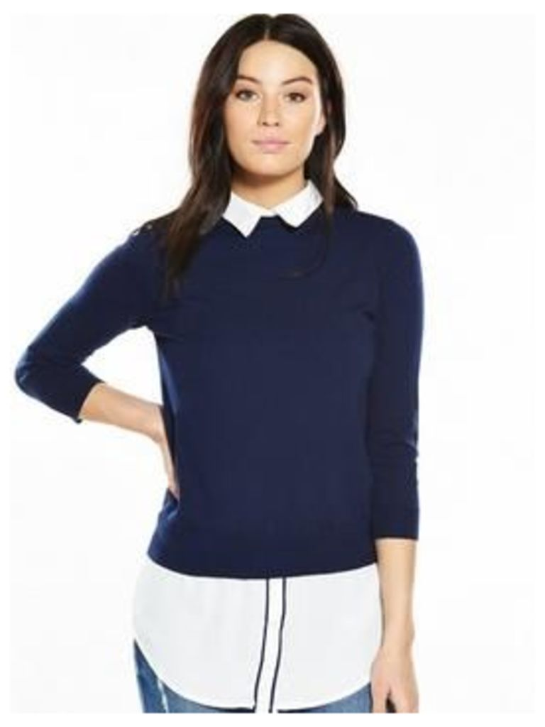 V By Very Shirt Collar Tipped 2-1 Jumper