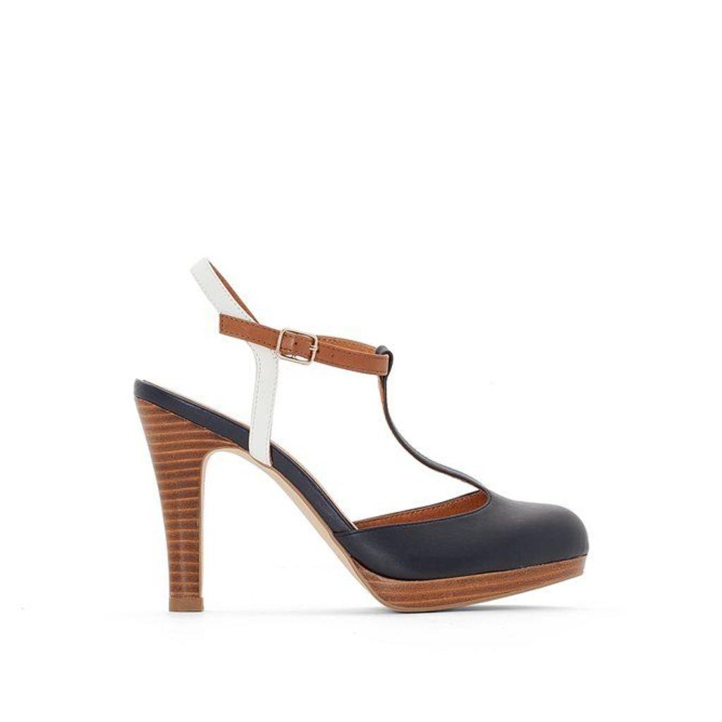 Leather Platform T-Bar Shoes