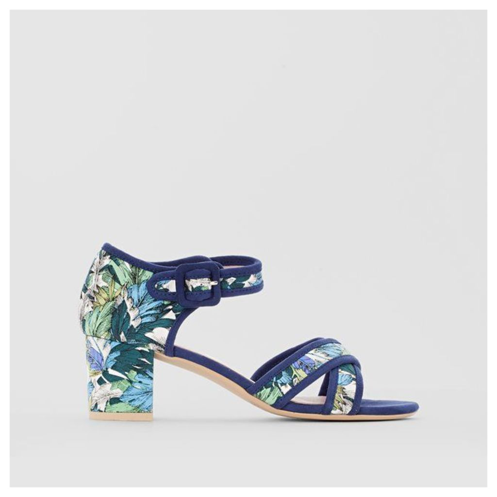 Mid-Heel Tropical Print Sandals