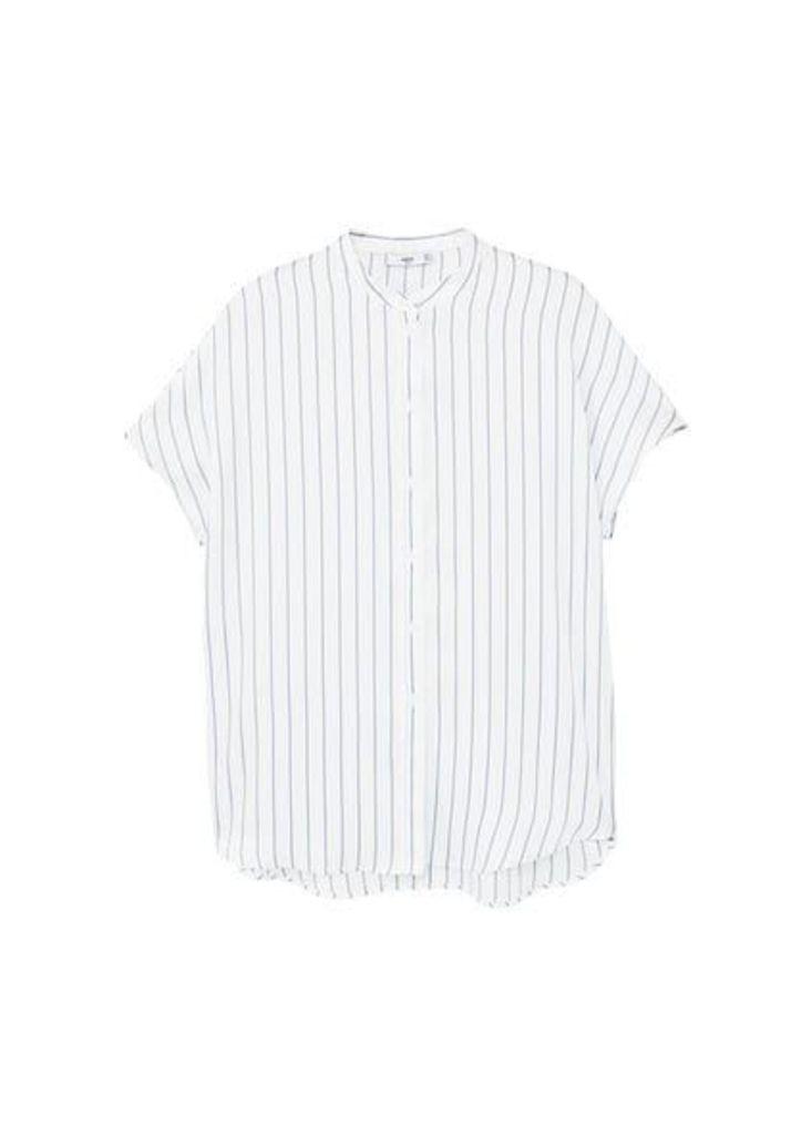 Striped mao collar shirt