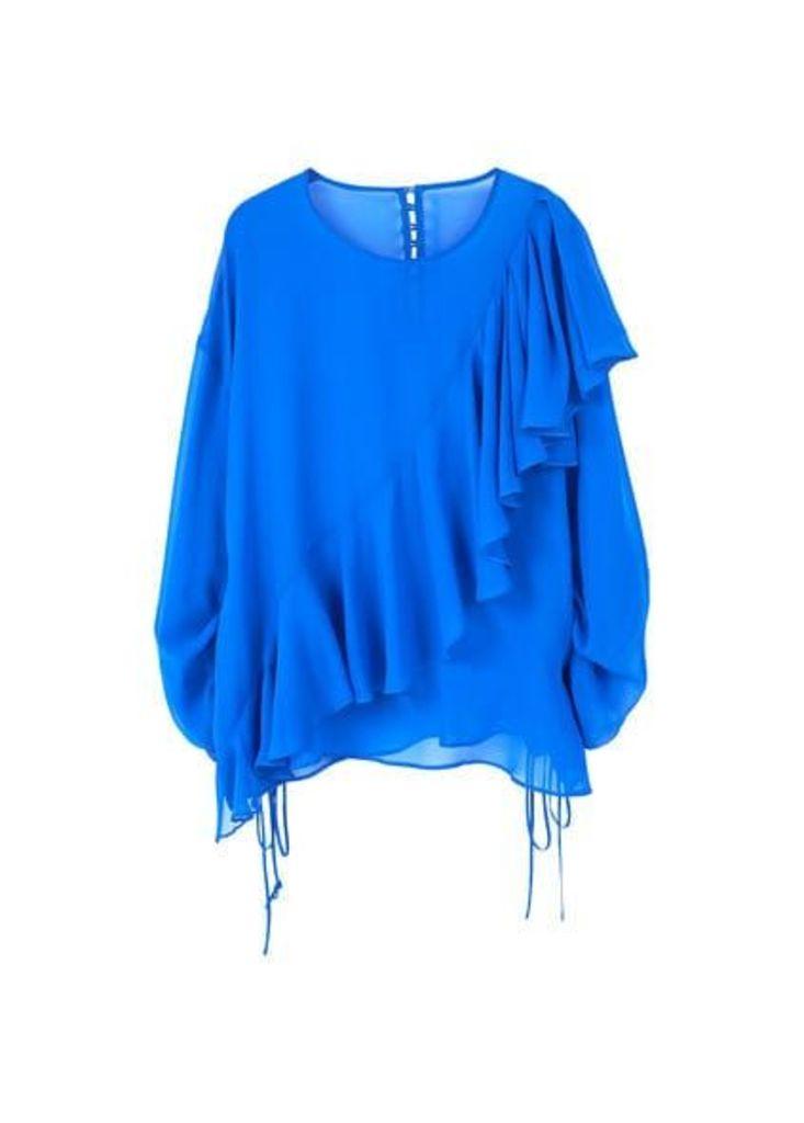 Ruffled silk shirt
