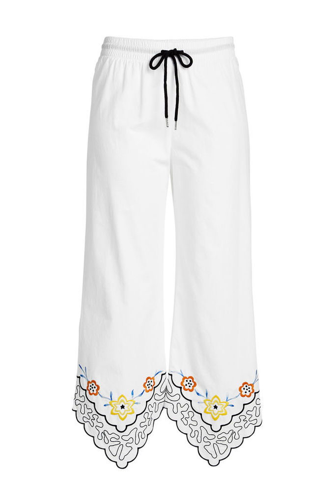 See by Chloé Cropped Cotton Pants with Embroidery