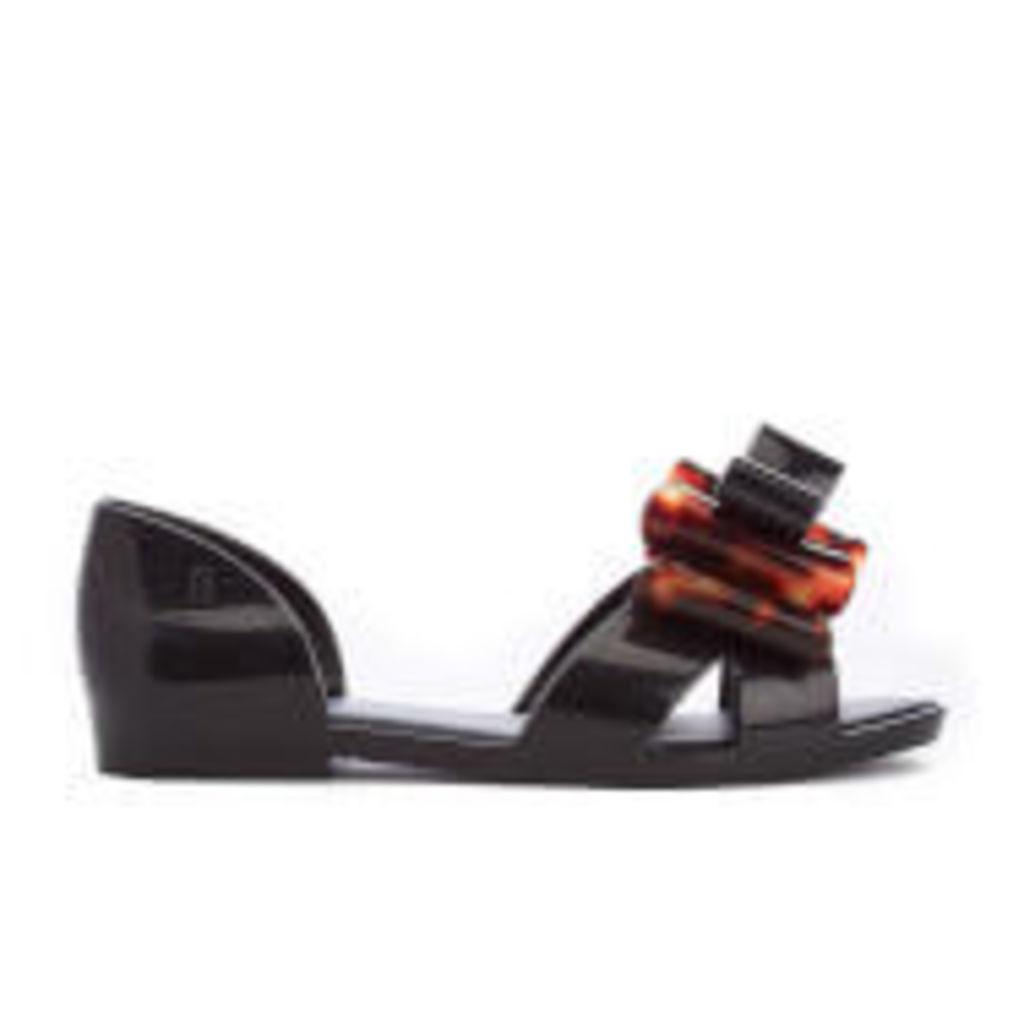 Mini Melissa Kid's Seduction Bow Flats - Black Tortoiseshell