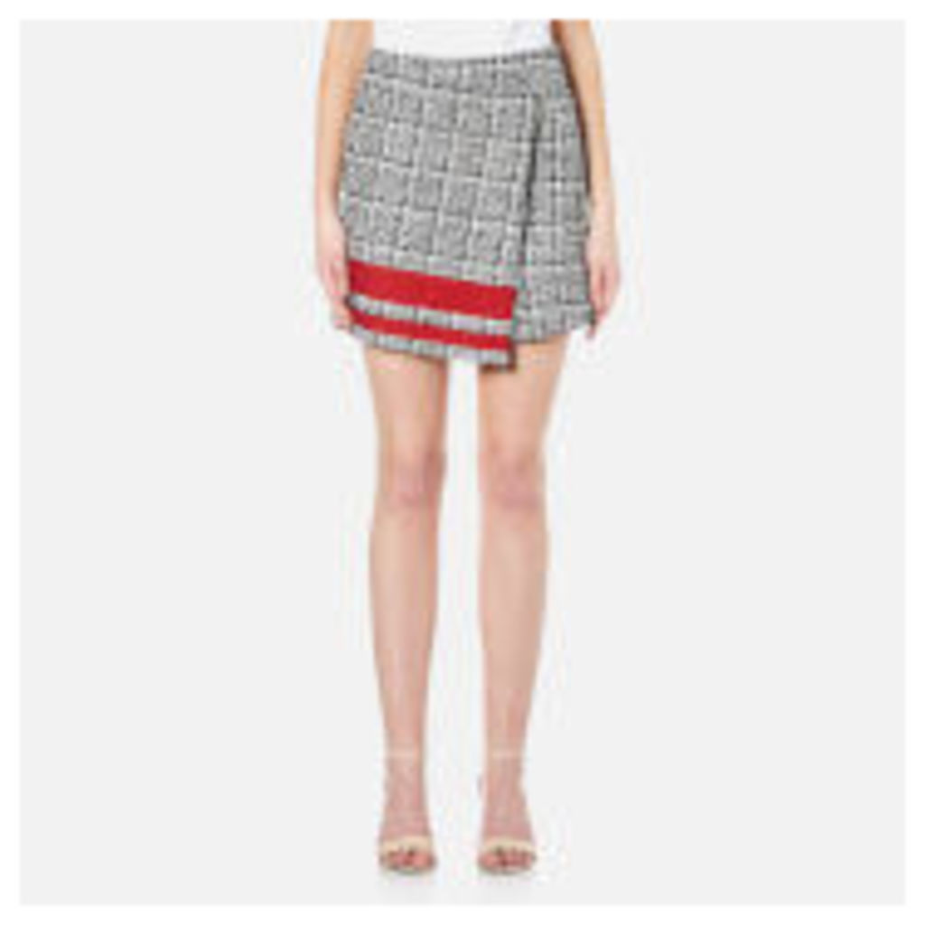 Karl Lagerfeld Women's Boucle Wrap Skirt with Stripe - Multi
