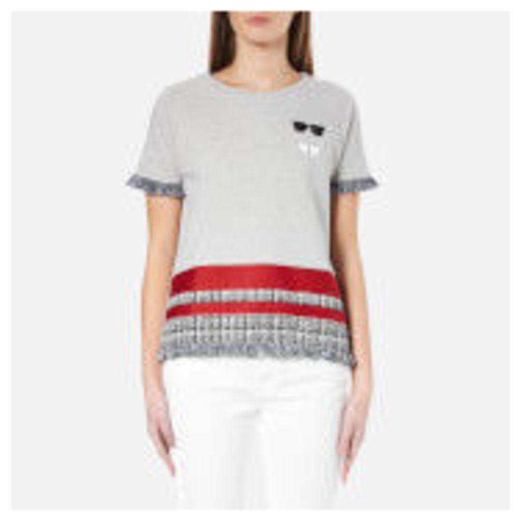 Karl Lagerfeld Women's Stripe Boucle Sweatshirt - Grey