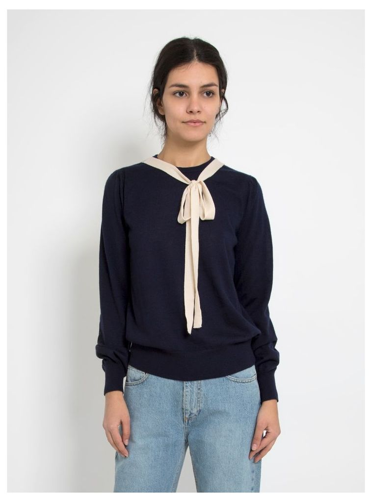 Emilie Cashmere Fitted Sweater Navy & Vanilla