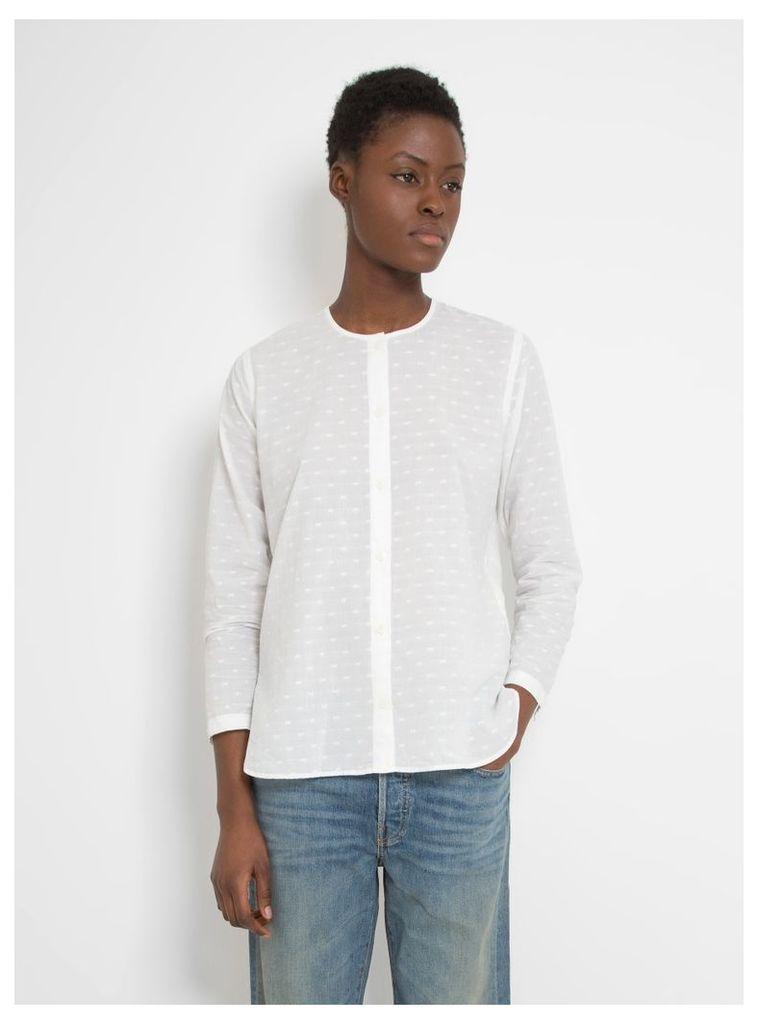 Collarless Long Shirt White Dot