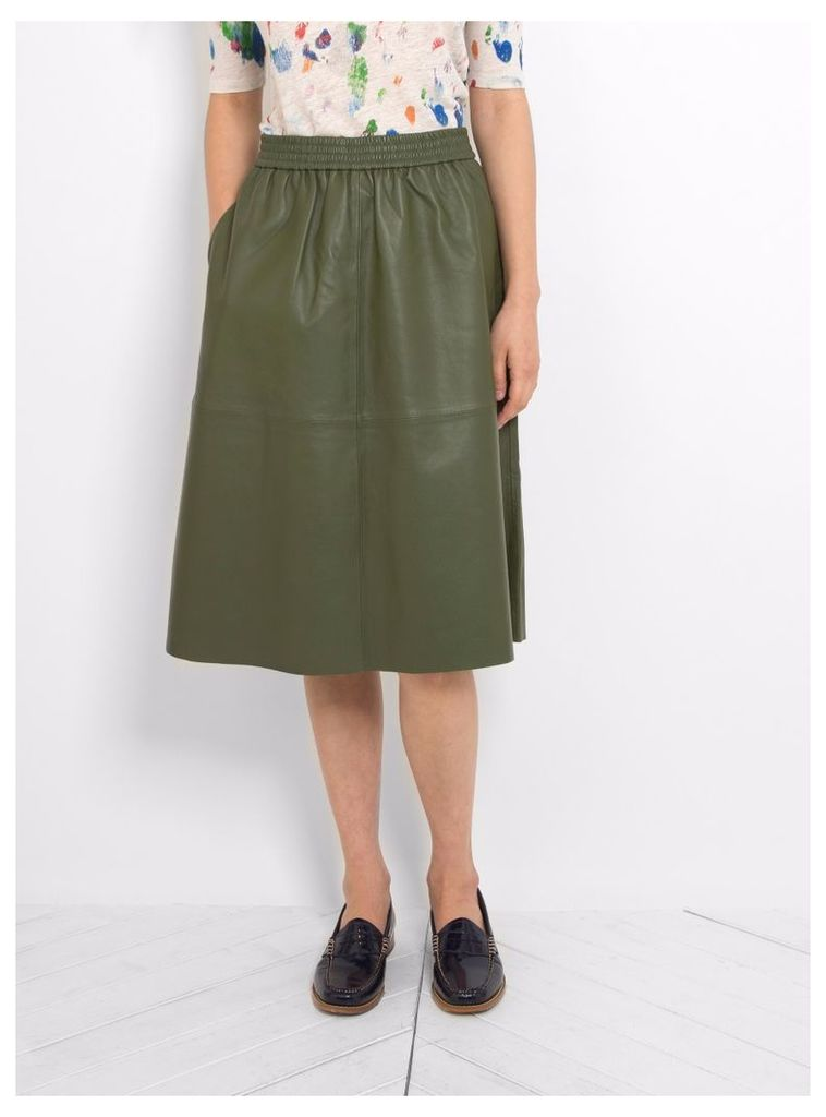 Irena Leather Skirt Jeep Khaki