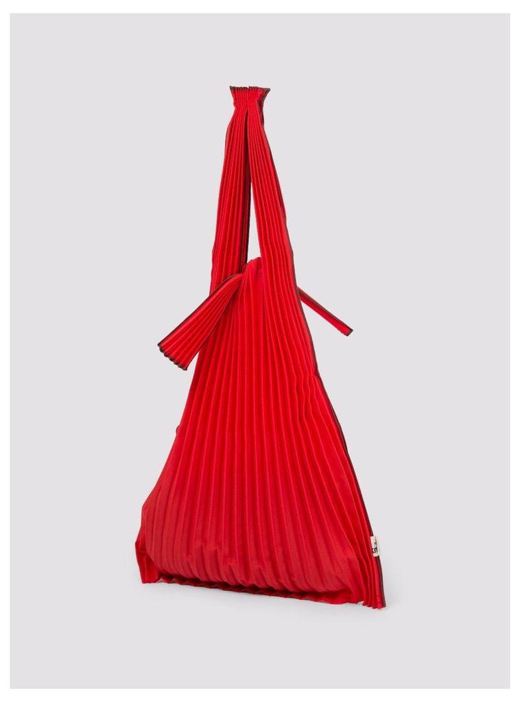 Vertical Pleats Bag S Red