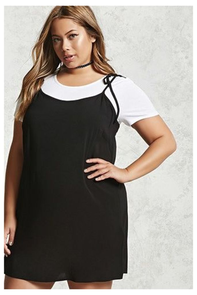 Plus Size Self-Tie Twofer Dress