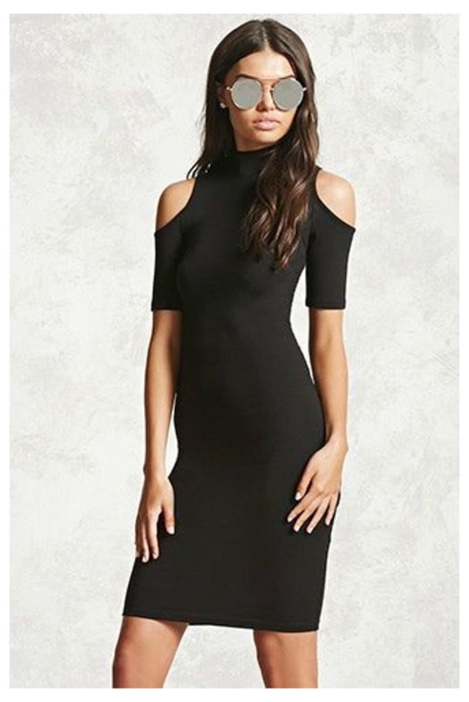 Mock Neck Open-Shoulder Dress