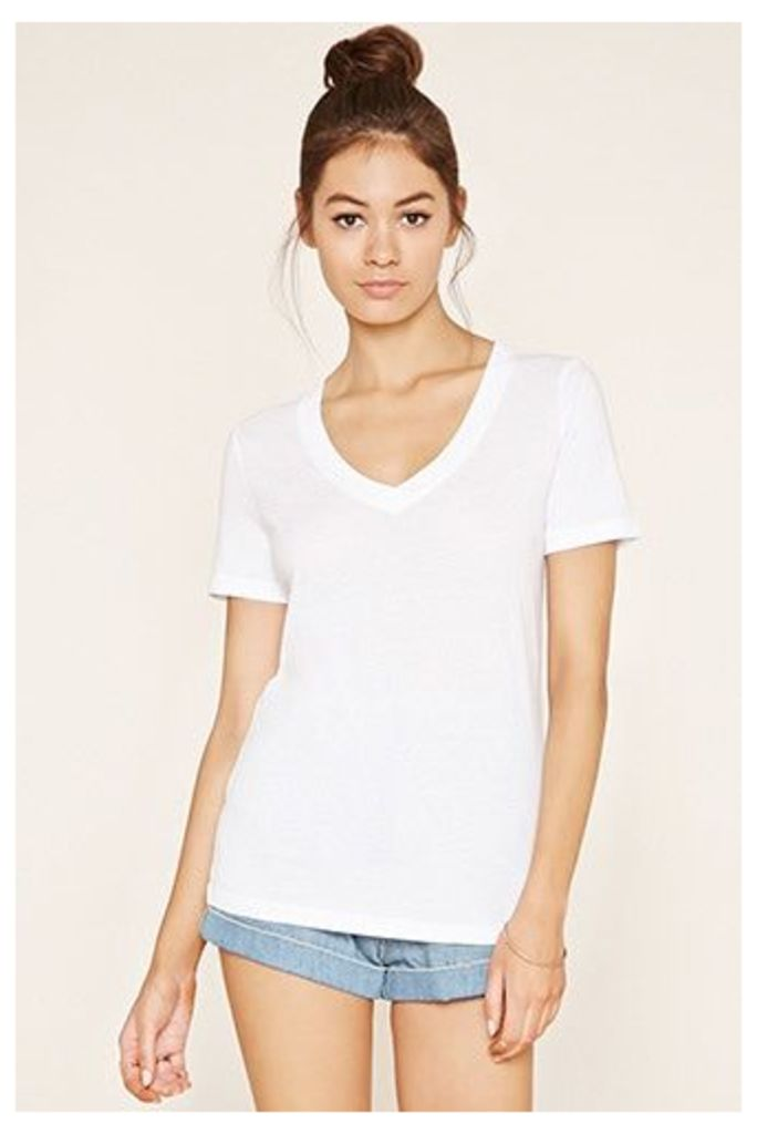 Cotton-Blend V-Neck Tee